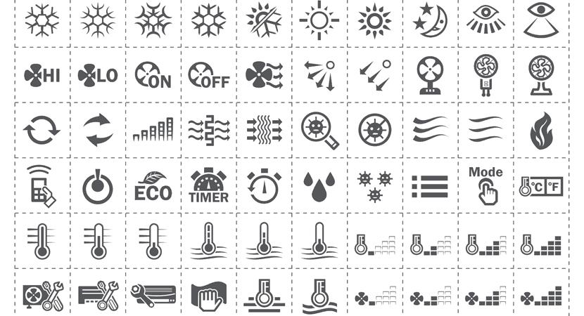 ¿Qué significan los simbolos de los aires acondicionados Mitsubishi?