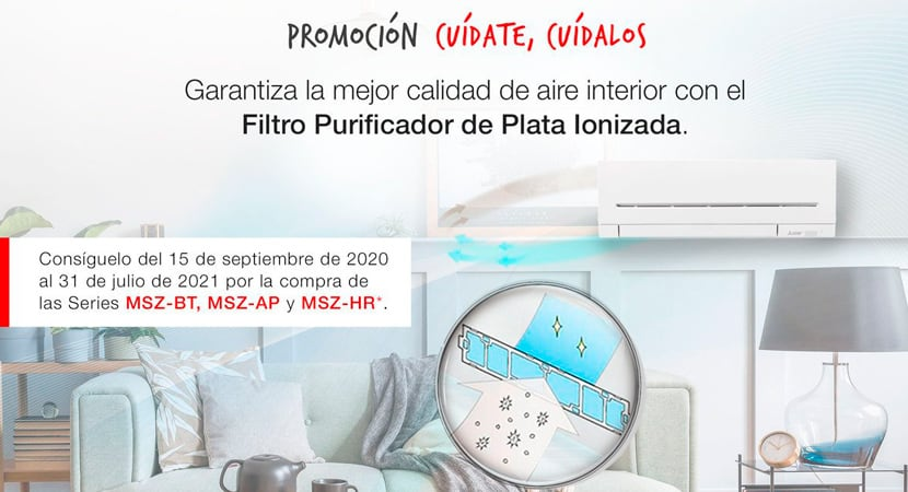Compra un aire y Mitsubishi te regala un filtro purificador de plata ionizada